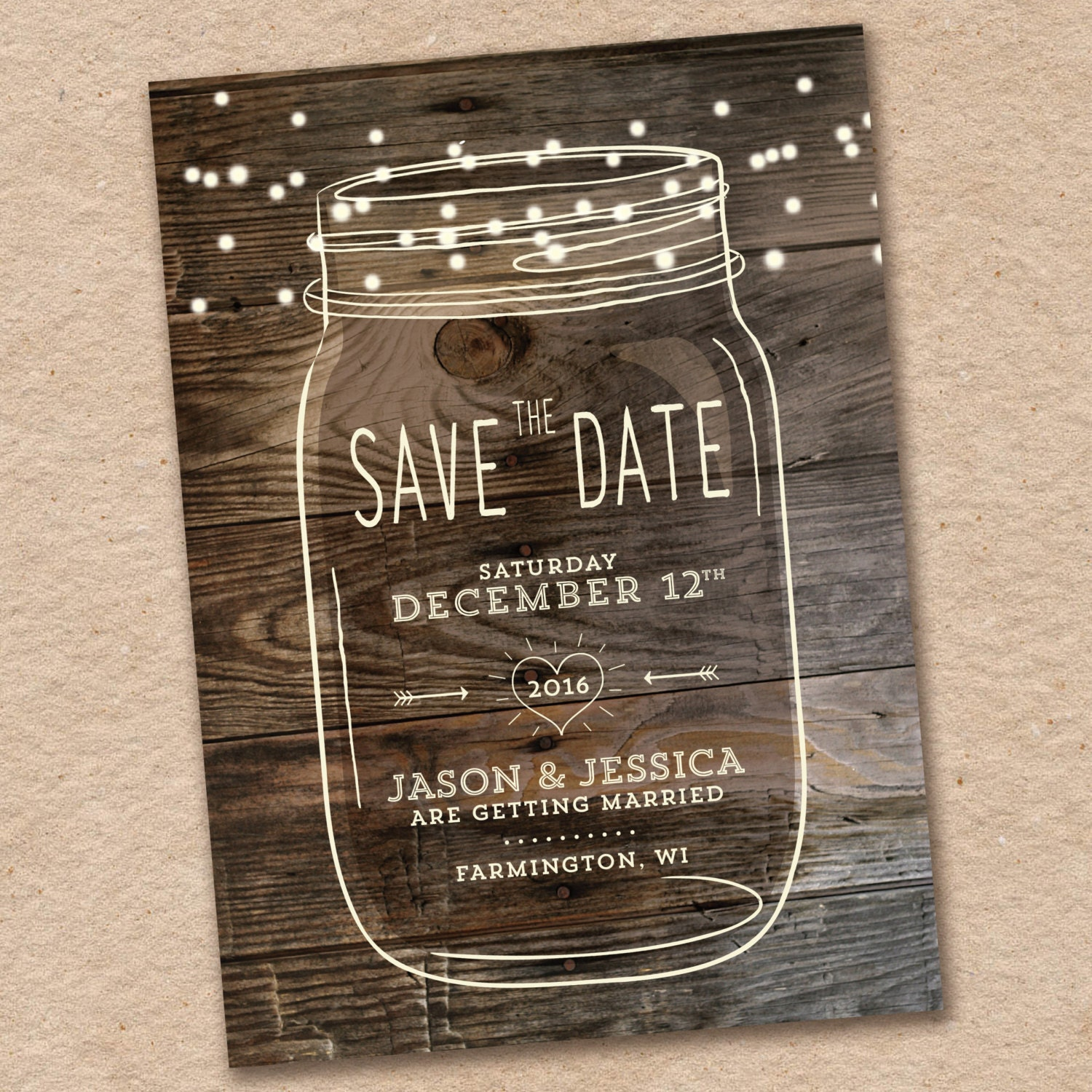 Mason Jar Save The Date Rustic Save The Date Country Save