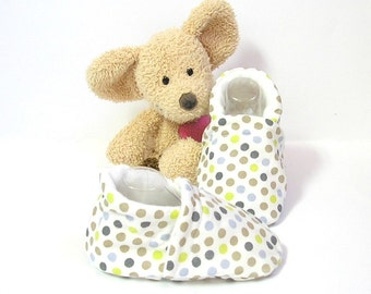 Baby slippers, made of cotton fabric size 3/6 months by Tricotmuse