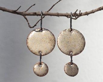 Dangle earrings Copper earrings Enamel jewelry Rustic copper Enamel earrings Sterling earrings Modern earrings Earthy earrings Copper