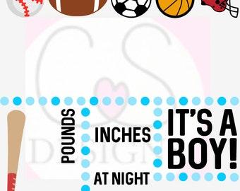 Birth Announcement - Boy - Sports Theme SVG