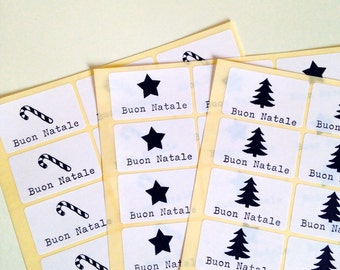 12 Christmas stickers stamped by hand