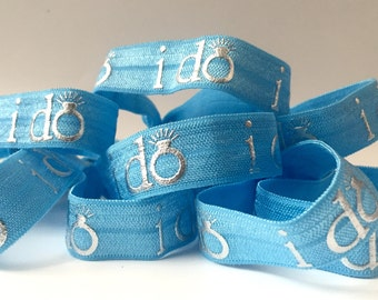 """Blue """"I do""""  Hair Tie-Set of 4"""