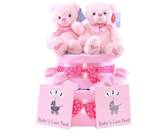 Twin Girls Baby Shower Nappy Cake - Pink Twins new baby gift hamper basket