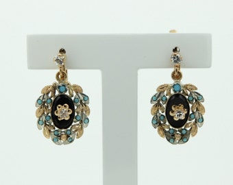 Turquoise continental drop earrings (SKU445)