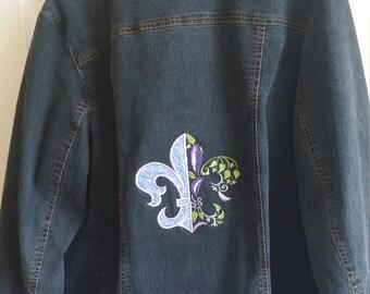 Refashioned Denim Jacket Machine Embroidery Fleur De Lis