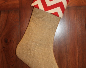 Chevron Red Gold Burlap Christmas Stocking, Personalized Glitter Stockings