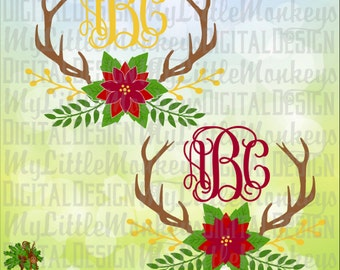 Winter Floral Spray Antlers, Poinsettia Christmas Floral Antlers Monogram Base Digital Instant Download Cut File Clipart Jpg Png SVG DXF EPS
