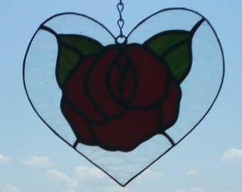 Stained Glass Red Rose Heart Sun Catcher