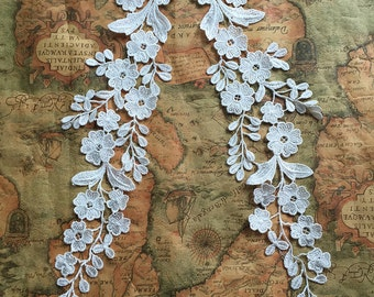 White Lace Appliques Venice Lace Flower Collars Corsage Costome Decor Lace Patches 1 Pair YL211