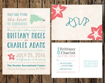 DIY Custom Reception Invitations RSVP Postcard For After The Destination Wedding Celebration Only