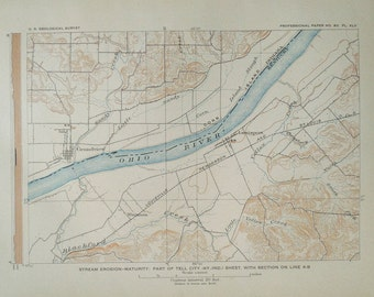 Ohio River Map Etsy - Ohio river map