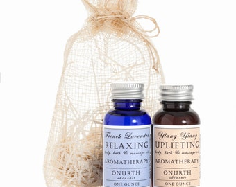 Body, Bath, Massage Oil Set in Sinimay Pouch, Relaxing French Lavender Oil, Uplifting Ylang Ylang Oil, Aromatherapy, Massage Kit