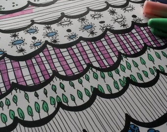 Unique Coloring Pages For Adults  - Print and Color - Colouring Page - Patterns Colouring - Adult Coloring page - Zentangle Coloring Pages