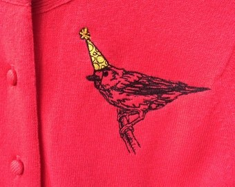 Upcycled vintage cashmere cardigan with party bird embroidery Women's size Extra Small-Small