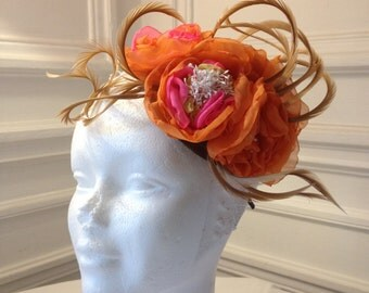Bibi maraige orange and pink chiffon Flower hat