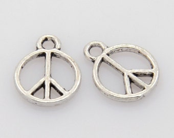 Peace Sign Charm, Pendant,Antique Silver Finish (CH-AS-25), 10 count