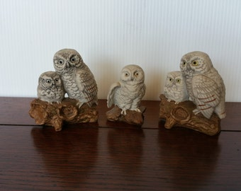 Vintage Napco Ceramic Owl Figurines, Set of Three - Approx 5 inch Tall and Very good condition