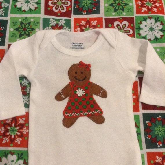 Gingerbread boy or girl appliqué onesie bodysuit