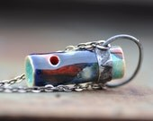 ceramic necklace red and blue necklace roller pendant unique jewelry  eco-friendly necklace handmade  zolanna real techniques wedding