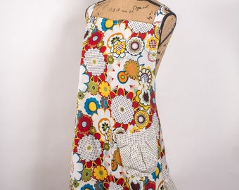 Polka Dots and Flowers Plus Size Apron
