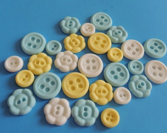 Fondant Buttons Cupcake Toppers - Baby Shower, 1st birthday, Baptism