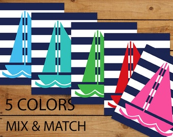 MIX & MATCH, Sailboat, Nautical Nursery Prints, 8x10, Digital Printable, Pool Blue, Turquoise, Kelly Green, Red, Hot Pink