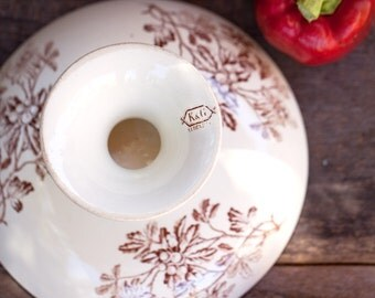 Late 1800s French Ironstone Cake Stand - Brown Transferware - Luneville - Free Shipping Within the USA
