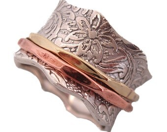 """Sterling Silver """"BALANCE AND BEAUTY"""" Meditation Spinning Ring with 1 Brass & 1 Copper Rings on Leaf Pattern Base Energy Stone (Style#88/796)"""
