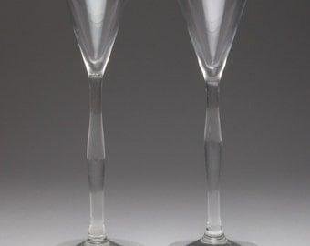 Pair antique Art Nouveau liqueur glasses, c.1910.