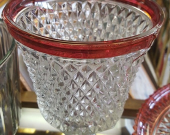 Indiana Glass Red Band Diamond Compote