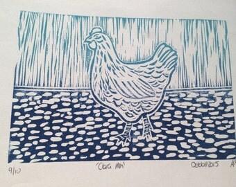 Clara Hen Linocut Print Limited Edition