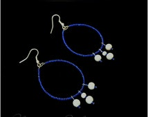 Handmade Blue with White Pearl Beads - Light Weight Hoop Earrings Beautifully Created and Designed for any Occasion.
