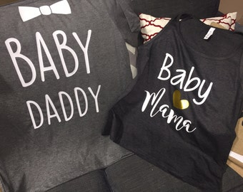 Baby Mama-Baby Daddy- Gender Reveal party shirts-Matching-boy- Girl-baby shower-mom-dad-new baby-baby bump-mom & dad shirts