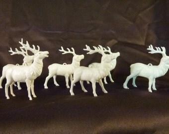 Vintage Christmas Santas Herd of Reindeer Ornaments