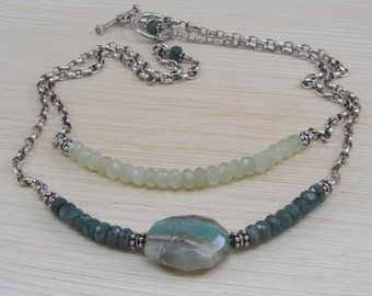 Apatite and New Jade Necklace with a stunning Peruvian Opal