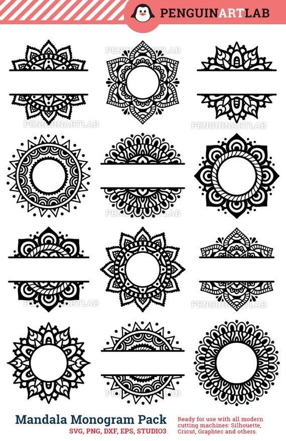 Mandala Pack Monogram And Split Svg Cut Files For