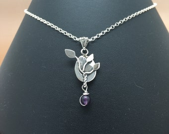 Handcrafted Sterling Silver Leafy Pendant with Amethyst Drop, Hallmarked.