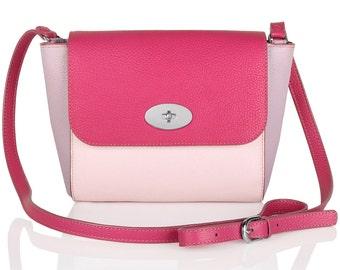 Leather Cross body Bag, Pink Leather Shoulder Bag, Women's Leather Crossbody Bag, Leather bag KF-157