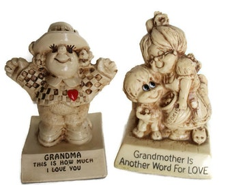 Russ Berries Co. Sculpture Figurines Set of 2 Grandmother Love Collectibles