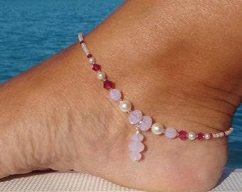 Swarovski crystal anklet, Rose crystal anklet, Sterling Silver Crystal anklet