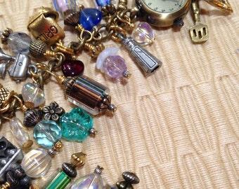 "Antique Gold ""Kitchen"" Charm Bracelet Watch"