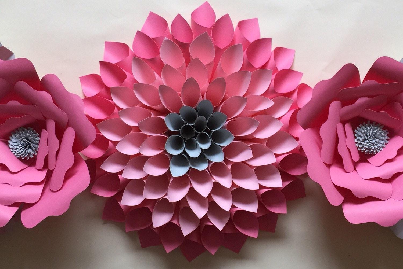 large paper flowers paper flower wall nursery decor bridal. Black Bedroom Furniture Sets. Home Design Ideas
