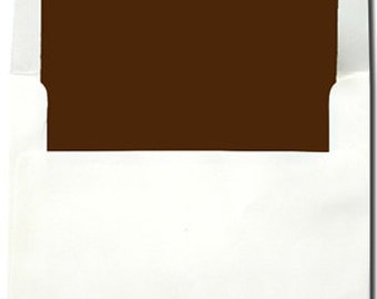 A7 & A2 White with Chocolate Lined Envelopes - 10 Pack