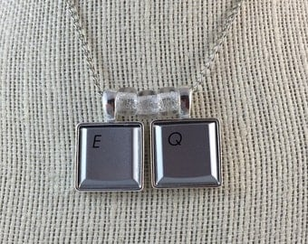 Techie Computer Key Necklace - Monogram Pendant - Personalized With Up to Two Keys of Your Choice