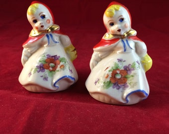Charming, Vintage (1940's), Hull, Little Red Riding Hood, Small Salt & Pepper Shaker Set, 3.25-inches tall, Excellent Condition!
