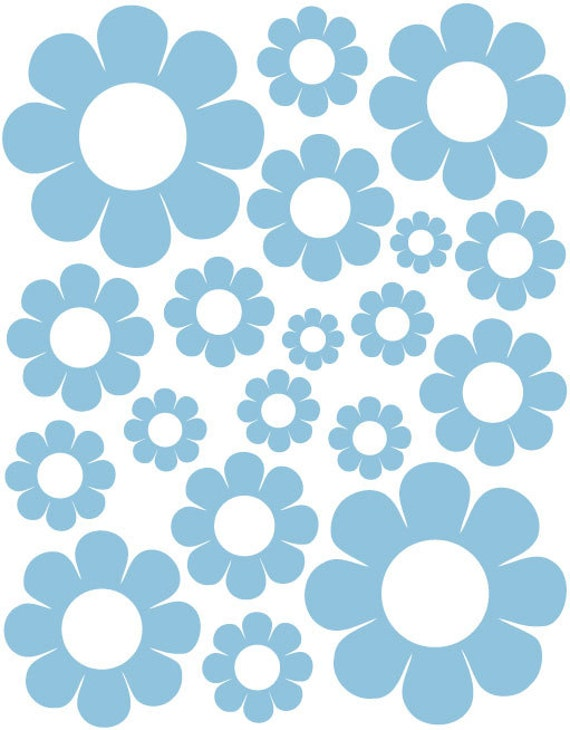 38 Powder Blue Daisy Vinyl Shaped Bedroom Wall Decals Stickers Daisies Kids Baby Nursery Dorm Room Removable Custom Made Easy to Install