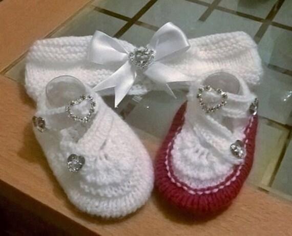 Baby Knitting pattern baby Arya shoes and hairband