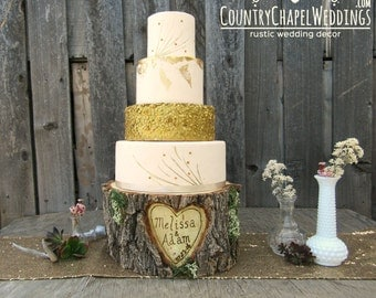 Personalized Rustic Log Cake Stand ~ Elm Wood Cake Stand ~ Rustic Wedding, Barn Wedding, Rustic Cake Stand, Stump Cake Stand~ Summer Wedding