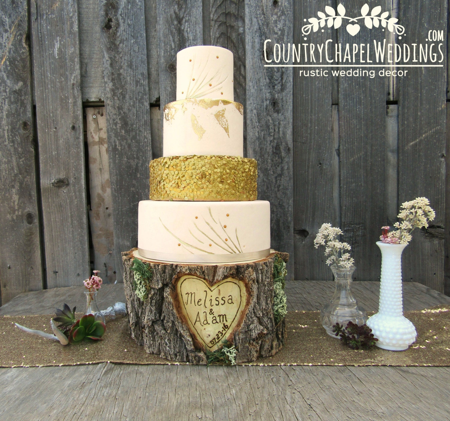 Personalized Rustic Log Cake Stand Elm Wood Cake Stand