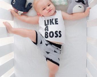 printed baby toddler singlet | white baby toddler top | like a boss baby shirt